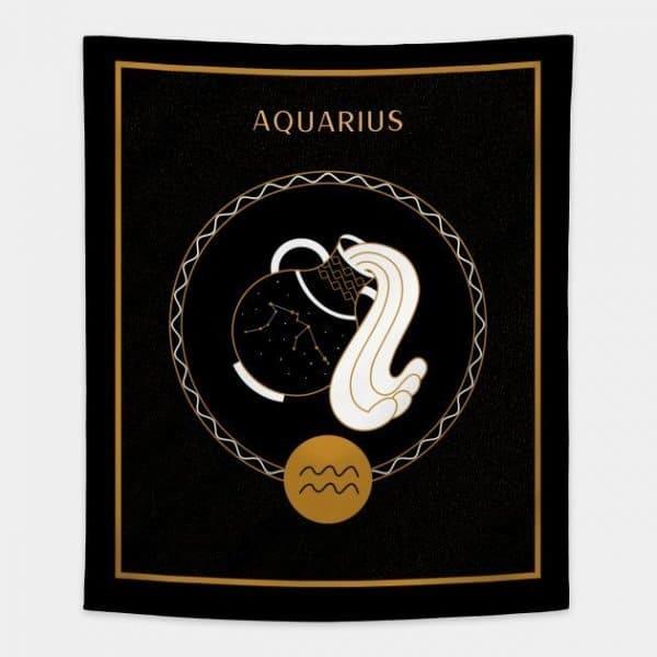 Aquarius Tapestry Black