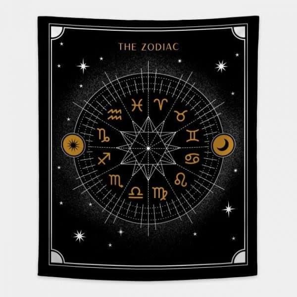 Zodiac Tapestry Black and White