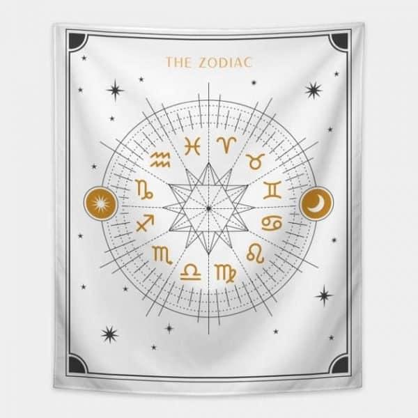 Zodiac Wheel Tapestry White